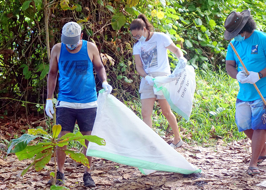 Most of the rubbish was collected at Anse Souillac